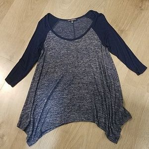 REALLY Comfy Blue & Gray Stretchy 3/4 Sleeve Shirt